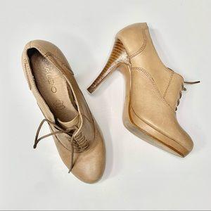 Aldo Tan Leather Lace Up Platform Heels Size 6
